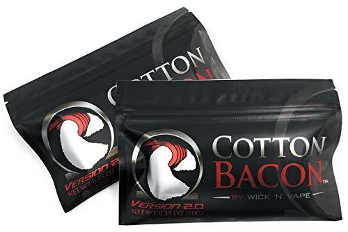 ORIGINAL Wick 'N' Vape Cotton Bacon V2 – Dampfer Watte E Zigarette Zubehör/Selbstwickler Watte – 2 Packungen-Sparset