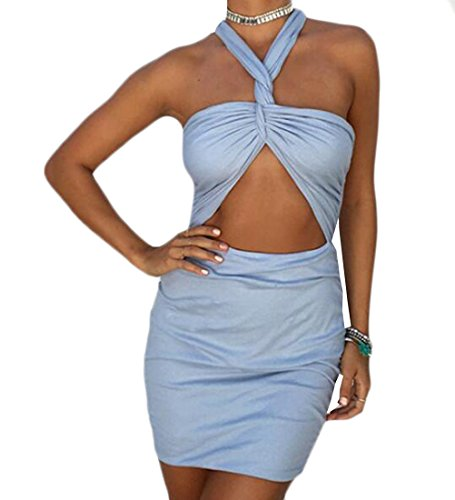 Delle Halter Jaycargogo Blu Bodycon Retroilluminazione Criss Mini Abito Donne Croce Sexy 56rxdUr