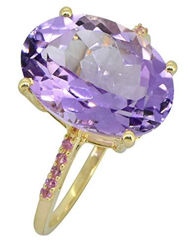YoTreasure 7.75 Ct Pink Amethyst Solid 14K Yellow Gold 2-Stone Princess Ring