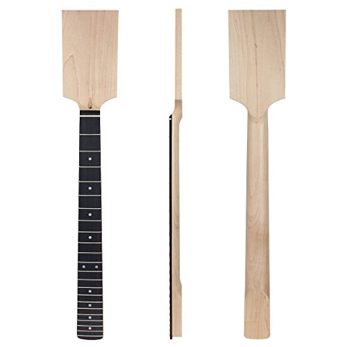 (2 set Electric Guitar Neck Paddle Head on Maple 22 Frets Dot Inlay Unfinished)