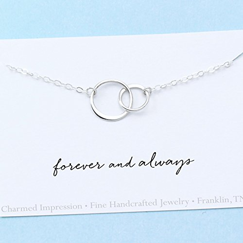 Forever and Always • Interlocking Eternity Circles • Sterling Silver • Gifts for Women • Two Tiny Connected Rings Necklace • Symbolic Jewelry
