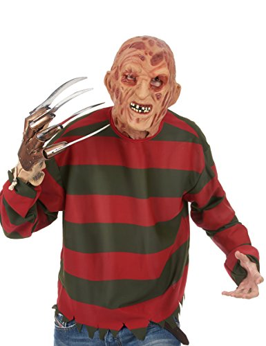 A Nightmare On Elm Street Freddy Krueger Costume Deluxe Overhead Mask, Red, One Size ()