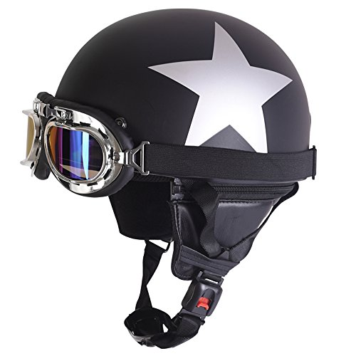 Fatmingo German Style Half Helmet with Goggles for Motorcycle Biker Cruiser Scooter Cool Harley Helmet(Black with white ()