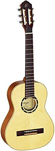 Ortega Guitars R121-1/2 Family Series 1/2 Body Size Nylon 6-String Guitar with Spruce Top and Mahogany Body, Satin Finish ()