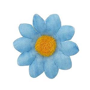 Artificial Daisy Flower Heads 100pcs Fake Gerbera Petals Sky Blue DIY Garland Craft Birthday Indoor Outdoor Party Easter Bonnet 3