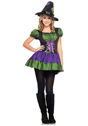 Leg Avenue Junior's 2 Piece Hocus Pocus Witch Dress, Purple/Green, Small/Medium (Sexy German Costume)