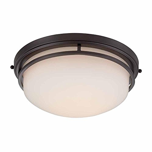 World Imports 9711-88 Oil Rubbed Bronze LED Flush Mount with Frosted Glass by World Imports