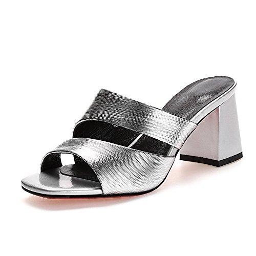 ZHRUI Sandalias Zapatos de Tacón A5843 Mujer PU Tacones Zapatillas Ocio Diario Altura del Tacón 6.5cm Plata, Rosa Silver