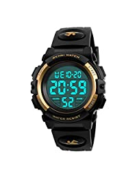 Kids Sports Digital Watch, Waterproof Outdoor LED Luminous Multifunction Wristwatch - Gold