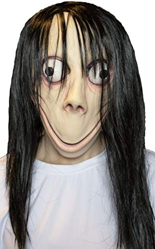 MOMO Scary MASK Halloween Props - Creepy Horror Latex Realistic Full Head with Wig Cosplay Costume Mask Party Decoration Beige -
