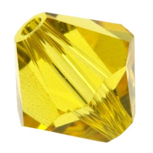 (Swarovski 4mm Light Topaz 5301 Bi-cone Crystal Beads - Pack Of)