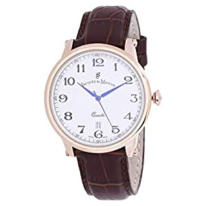 Jacques Du Manoir Men's White Dial Leather Band Casual Watch - 2527