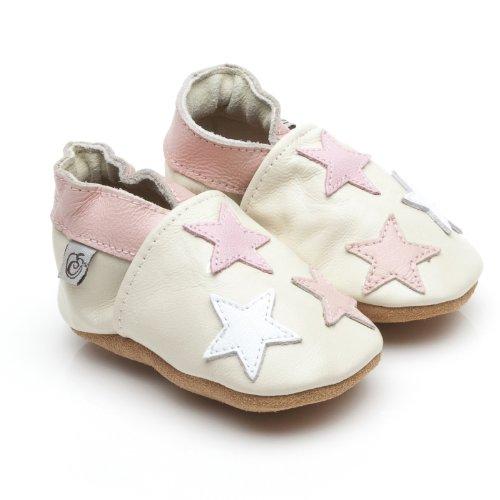 Suaves Zapatos De Cuero Del Bebé Poco Estrellas Rosa 6-12 meses