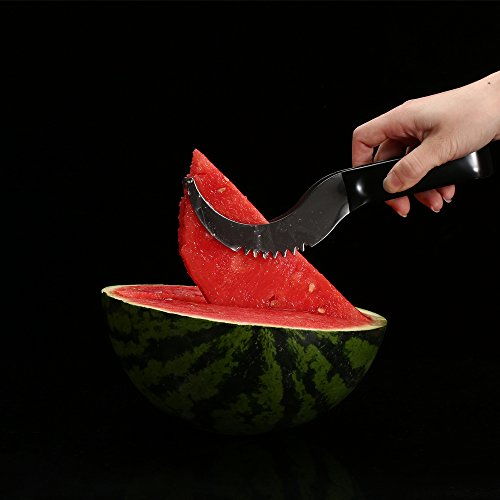 Watermelon slicer [BONUS] 3 Fruit Forks Quality Stainless Steel Blade with Comfortable Black Silicone Handle and Reinforced Tip by Homai (Image #3)