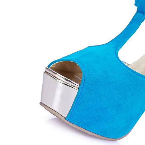 Amoonyfashion Womens Solide Frosted Hoge Hakken Peep Toe Gesp Sandalen Blauw