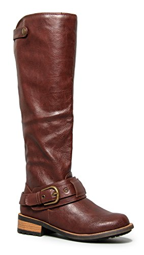 Knee High Flat Riding Boot - Vegan Leather Pull On – Comfortable Cosplay Costume Boot - Low Heel Shoe,Brown Crinkle Pu - Ashberry,5 B(M) (Brown Pu Pirate Boot)