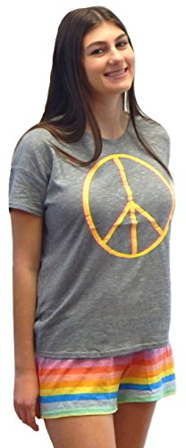 Beaute Fashion Women's Junior Fit Sleepwear T-Shirt Short Set Lounge Set Pajama PJ (X-Small, Grey/Rainbow Peace Sign)