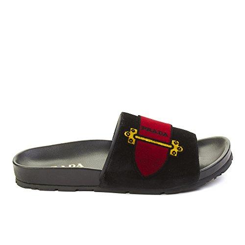 Slide Prada Velvet Leather Sandal Women's Black Shoes wqPCqfRa