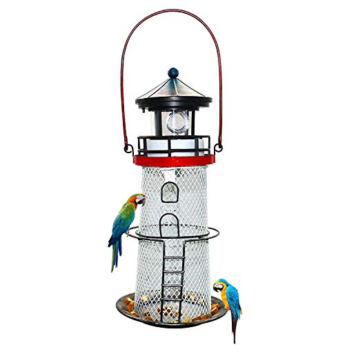 Solar Lighthouse, Metal Bird Feeder, revolving Light Lighthouse, Garden Art Decoration, Hanging Light, Hanging Light, Portable, Lighthouse, Road, Trail, Lawn, Yard, Lighthouse - Feeder Metal Lighthouse Bird