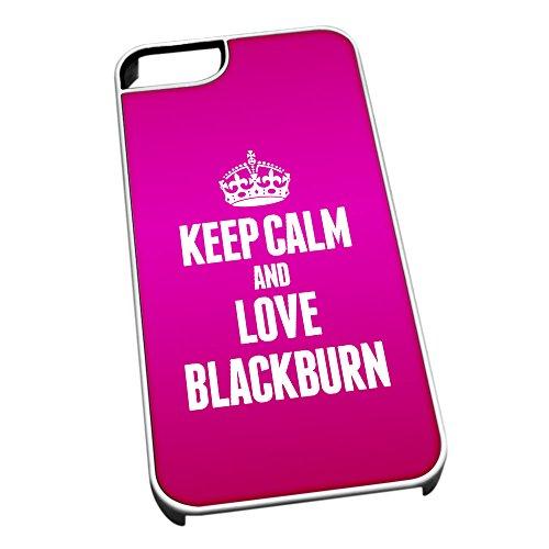 Bianco cover per iPhone 5/5S 0075Pink Keep Calm and Love Blackburn