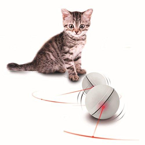 Creation® ABS Magie-LED-Licht-Blitz Rollen-Haustier-Kugel-Spielzeug - Elektronisches Spielzeug für Katzen und Welpen Hunde Trainings Verschieben Interactive (Weiß)