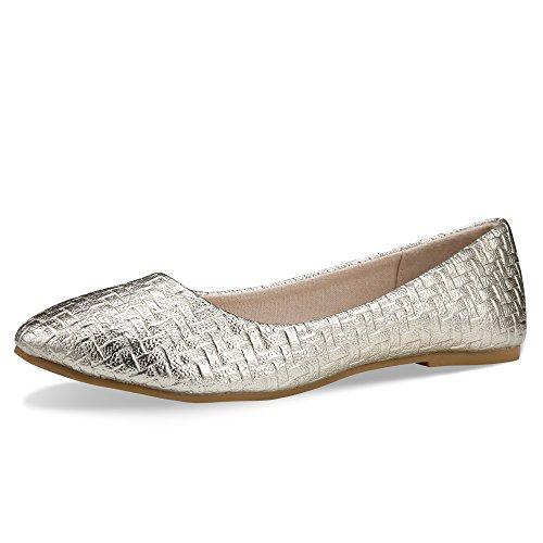 Walking Flats Women's Shoes Black Comfortable Ballet Soles Simple Ballerina Flats (9-9.5 B(M) US /CN41 /10'', Gold) by CINAK