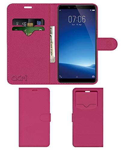 Acm Leather Window Flip Wallet Front  amp; Back Case Compatible with Vivo Y71i Mobile Cover Pink