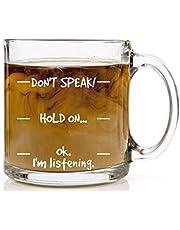 WT-DDJJK Het glas, niet spreken! grappige koffiemok - cool nieuwigheid verjaardagscadeau voor mannen, vrouwen, Husb