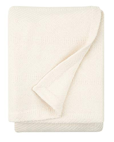 Sticky Toffee Woven Cotton Lightweight Throw Blanket Ivory Cream | 60 in x 50 in | Warm and Soft Blanket for Couch Sofa and Bed