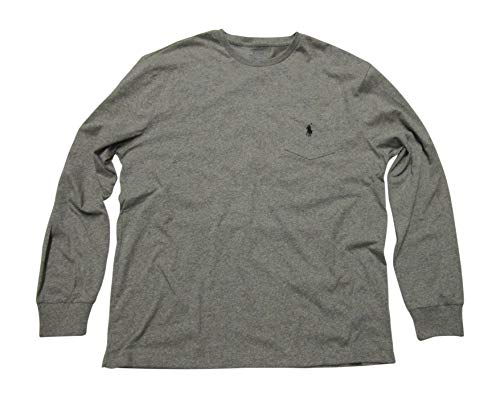 Polo Ralph Lauren Mens Long Sleeve Crew Neck T-Shirt Pocket Classic Fit (Medium, Grey Heather/Black Pony) - Classic Long Sleeved Fit