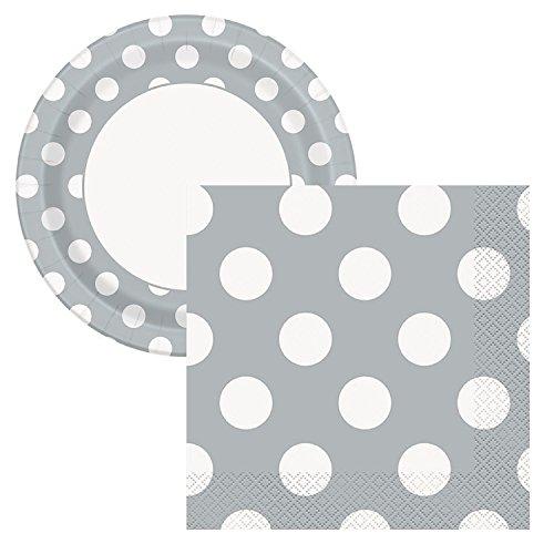 Elegant Entertaining Silver Polka Dot Party Tableware Plate and Napkin Set Serves 16 -