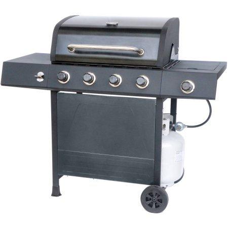 RevoAce 4-Burner LP Gas Grill with Side Burner, Pewter Fleck by RevoAce