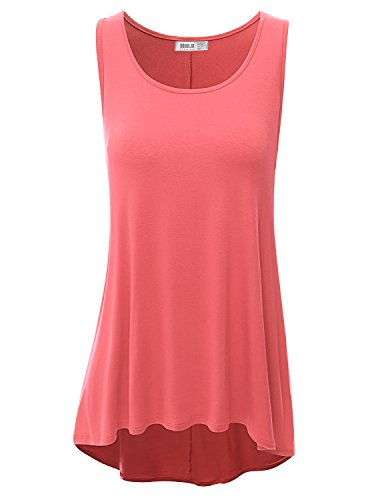 Doublju Women Leopard Print Collared Scoop Neck Dip Dyed CORAL Long Tunic Top,XX-Large,2XL