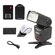 CowboyStudio FLASH & TRIGGER Kit, Mcoplus MCO-430 Speedlite for Nikon DSLR, NPT-04 4 Channel Flash Trigger Receiver, Bonus Diffuser