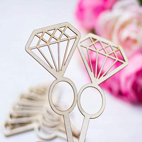Novelty Wooden Diamond Ring Cupcake Picks Cake Toppers for Wedding Party