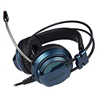 XIBERIA V10U Blue PS4 Headset/Stereo Gaming Headset/PC Headset,Seven Colors LED Luminous noise Isolation Wired Over Ear Stereo Gamer Headphones with Microphone and Volume Contro for PC/PS4/Skype(BLUE) by XIBERIA