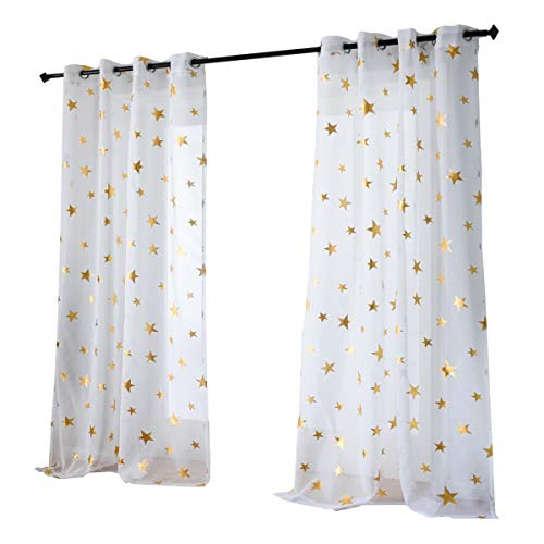 Kotile Nursery/Kid's Bedroom Sheer Door Curtain Panels with Gold Foil Print Star Patern, Thin and Soft Grommet White Voile Sheer Curtains for Girls Bedroom (2 Panels, 52 x63 -