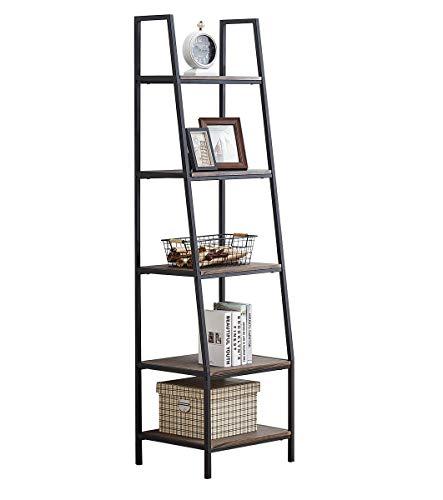 O&K FURNITURE 5-Shelf Ladder Bookcase, Leaning Bookcases and Book Shelves, Industrial Corner Bookshelf, Home Office Etagere Bookcase-72