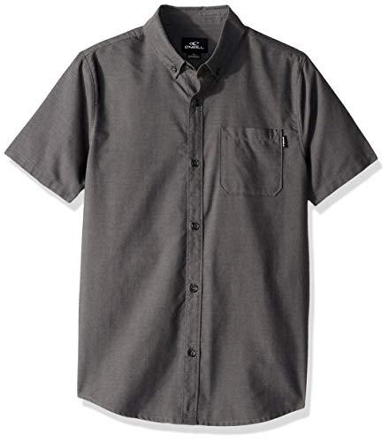 - O'Neill Boys' Big Short Sleeve Woven Button Down Shirt, Heather Black/Banks Large