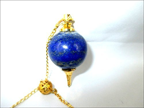 Jet Lapis Lazuli Sphere Ball Pendulum Carved Handcrafted Antique India New Design Top Reiki Dowsing Detect Metal Find Missing Person Research Oil Water Gold Silver Copper Image is JUST A Reference.