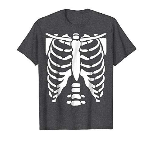 (Mens SKELETON SHIRT   Halloween Costume Rib cage Anatomy T-Shirt Medium Dark)