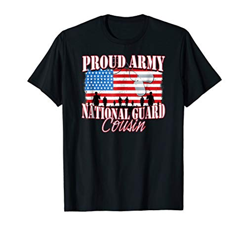 Proud Army National Guard Cousin Dog Tag Flag Shirt ()