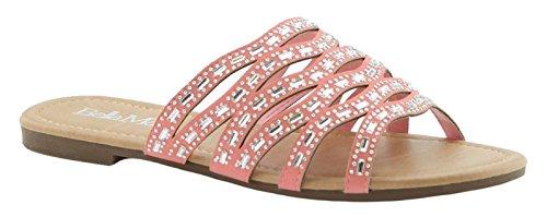 Bm Marie Open Toe Strass Strappy Flip Flop Slip Slip On Sandalo Scarpa Piatta Rosa Rosa
