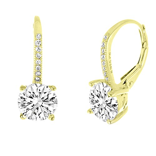 Lesa Michele Gold Plated Sterling Silver Round Cubic Zirconia Drop Lever Back Fancy Bridal Earring, Gold