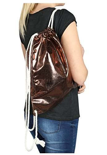 Eight2Nine Metallic Turnbeutel in Kroko-Optik | Gym-Bag | Sportlicher Daypack Bronze