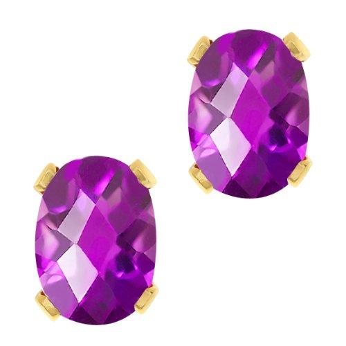 - 1.50 Ct Oval Checkerboard Shape Purple Amethyst Yellow Gold Brass Stud Earrings