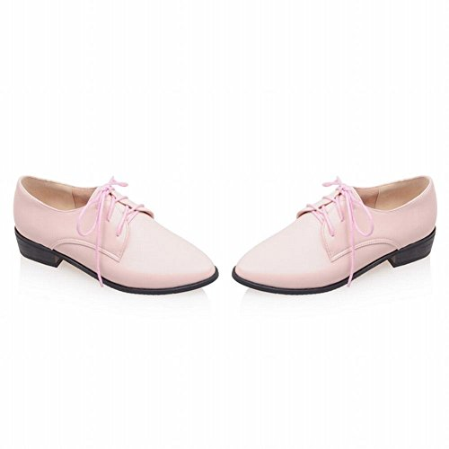Pink Low Chunky Heel Womens Shoes toe Pointed up Lace Fashion Latasa Oxford wqPFaR1q