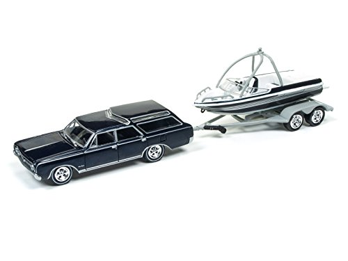 - Johnny Lightning JLBT001B-1964OLDS-BLUE 1964 Oldsmobile Vista Cruiser Midnight Mist Blue with Boat and Trailer Gone Fishing 1/64 Diecast Model Car