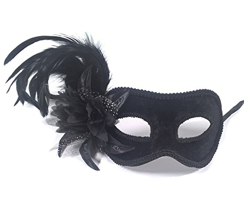 Aadan Feather Lady Masquerade Fashion Boutique Party Mask (Black Feather Masquerade Masks)