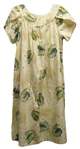 RJC Womens Plumeria Monstera Tea Length Muumuu Dress Beige 1X Plus by RJC